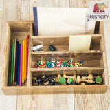 Related rusticity wooden utensil drawer organizer with 5 compartments kitchen flatware cutlery tray organizer mango wood handmade 13 7 x 10 2 x 2 6 in
