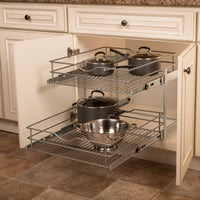 Knape & Vogt DBLMUB-20-R-FN Double-Tier Multi Pullout 20 in. Wire Basket, Frosted Nickel