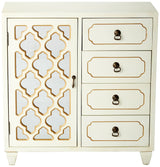 Select nice heather ann creations 4 drawer wooden accent chest and cabinet multi clover pattern grille with mirrored backing 30 75h x 29 5w beige gold