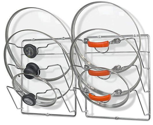 2 Pack - SimpleHouseware Cabinet Door/Wall Mount Pot Lid Organizer Rack, Chrome