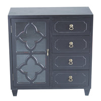 Cheap heather ann creations 4 drawer wooden accent chest and cabinet clover pattern grille with glass backing 30 75h x 29 5w black