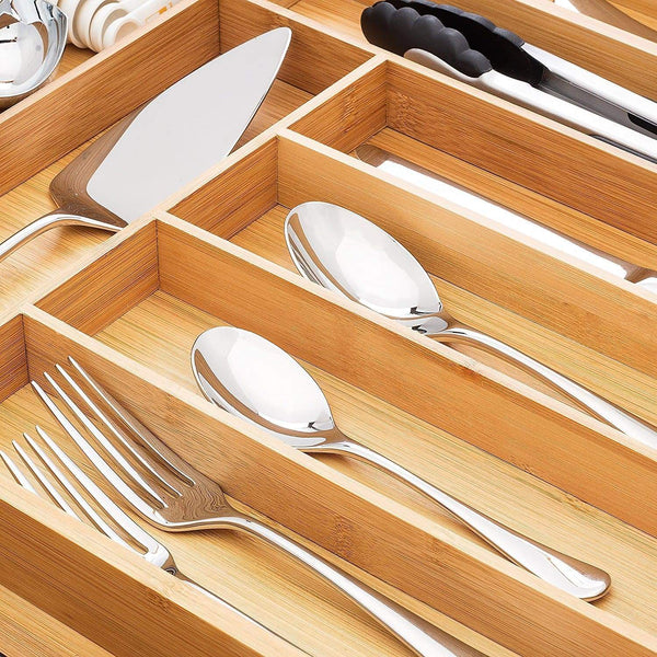 Kitchen bamboo expandable drawer organizer premium cutlery and utensil tray 100 pure bamboo adjustable kitchen drawer divider 7 compartments expandable