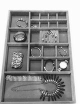 The best jewelry drawer organizer wood and velvet for jewels rings necklaces bracelets 20 compartments protects jewelry stackable durable and made in usa gray silver