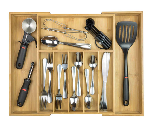 Great kitchenedge high capacity kitchen drawer organizer for silverware flatware and utensils holds 16 placesettings 100 bamboo