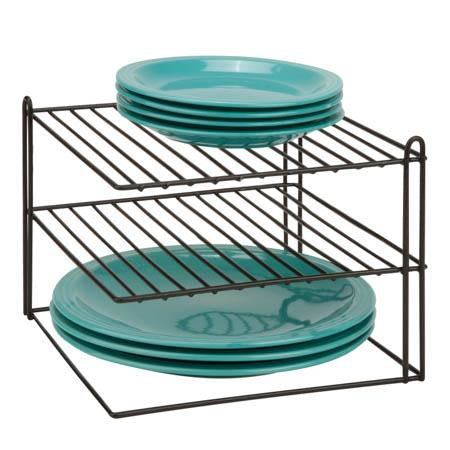 Corner Shelf Plate Rack, BLK