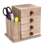 Ikee Design® Wooden desktop Storage with 4 Drawers & a Side Compartment