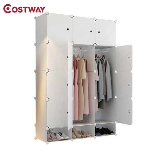 COSTWAY DIY Portable Simple Folding Wardrobe Assembled Resin Plastic Storage Cabinet Organizer W0242