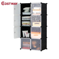 COSTWAY 8-Grid DIY Portable Simple Folding Wardrobe Assembled Resin Plastic Storage Cabinet Organizer W0240