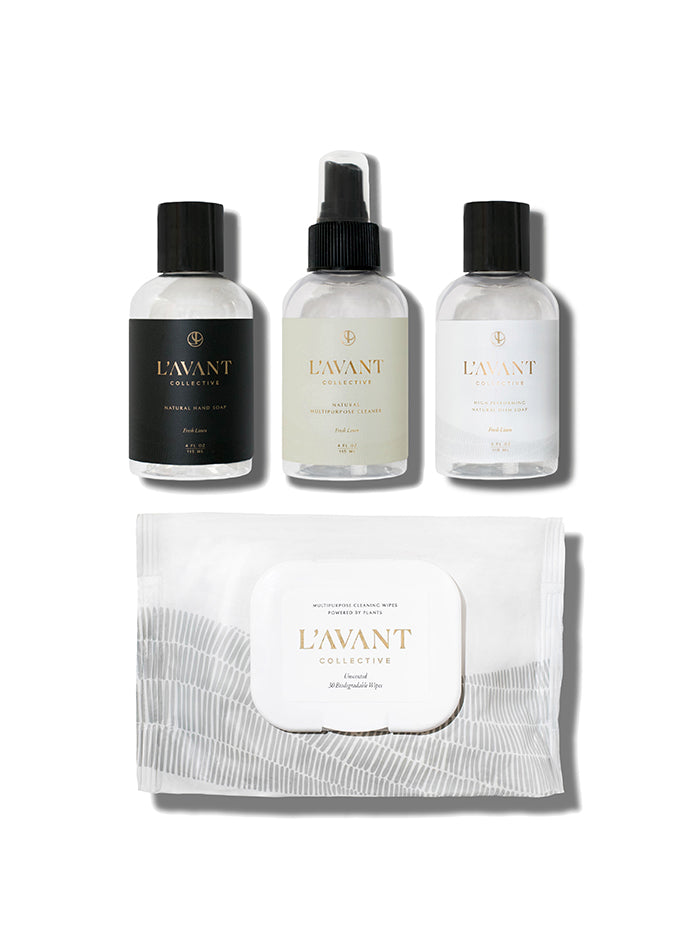 Travel Size Natural Hand Soap, Dish Soap, Multipurpose Surface Cleaner and Cleaning Wipe Pack