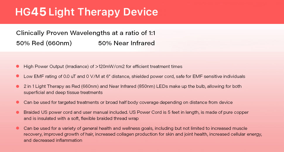 HG45 Red Light Therapy Device