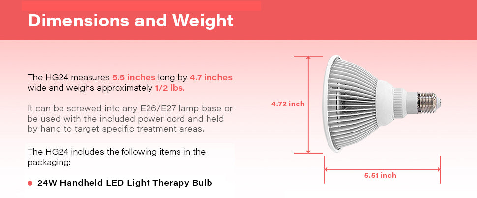 HG24Red Light Therapy Device Dimensions and Weight
