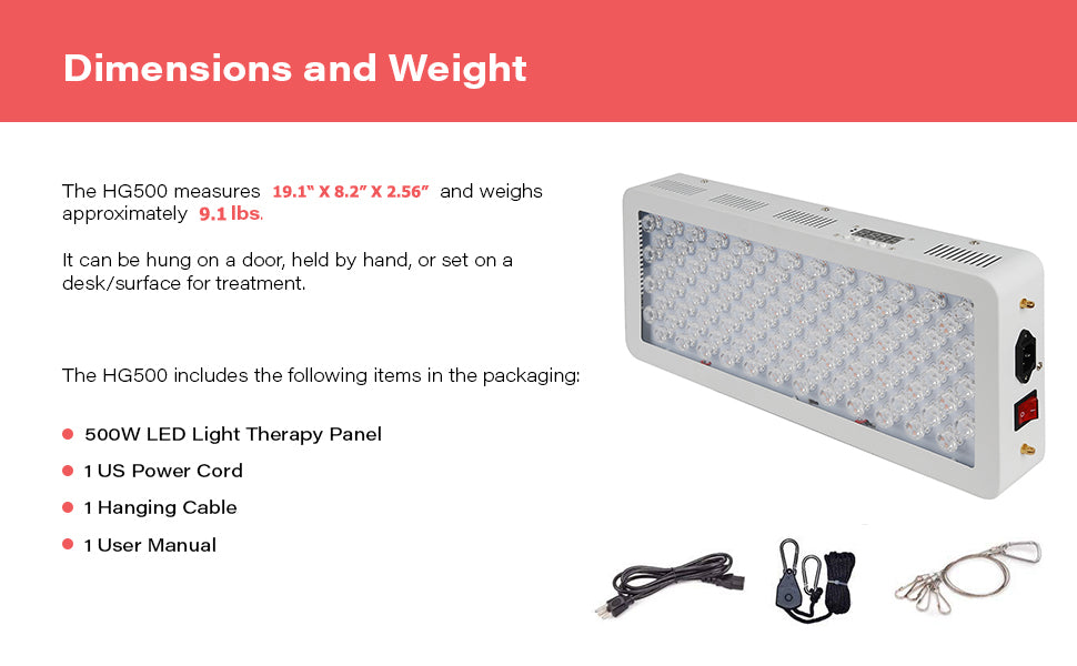 HG500 500W Red Light Therapy Device Dimensions and Weight
