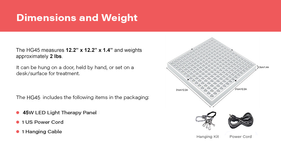 HG45 Red Light Therapy Device Dimensions and Weight