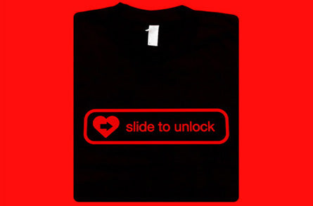 heart slide to unlock cellphone shirt