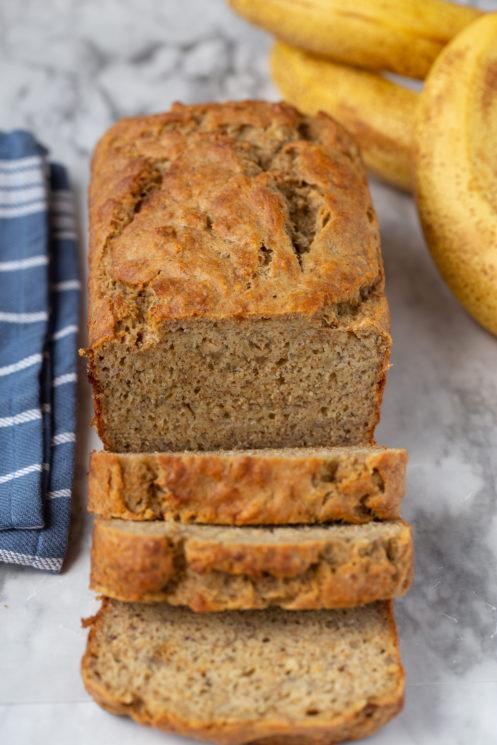 Bake a loaf of banana bread that's so sweet, light, cakey, and comforting, no one will know it's a healthy makeover of this classic treat