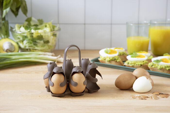 $18 Kitchen Invention 'Eggbears' Makes Boiling And Holding Brown Eggs Easy And Fun