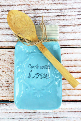 6.75 x 3.75 Blue Ceramic 'Cook With Love' Spoon Holder with Spoon Set
