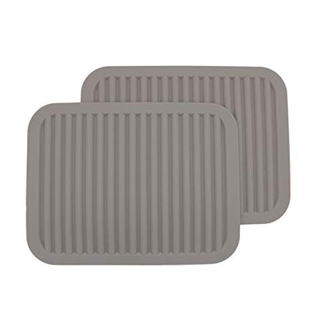 Silicone Trivets, Set of 2?Silicone Pot Holder/Trivet Mat/Silicone Drying Mat - Waterproof, Heat Insulation, Non-Slip, Spoon Rest, Tableware Pad, Jar Opener & Coasters (9x12INCH, Light Gray)