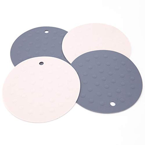"UNIEVE 4 Pack Silicone Trivets Mat and Hot Pad Mat 6.6""X 6.6"" Round Pot Holder, Jar Opener and Spoon Rests, Non Slip, Flexible, Durable, Dishwasher Safe Heat Resistant (Grey & Light Pink)"