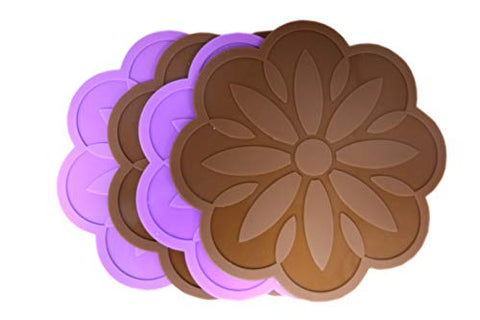 Taoya Silicone Pot Holder and trivets mat (Set of 4) Multi-Purpose hot Pads Heat Resistant Insulated Non-Slip Decorative for Table Kitchen 4.7 inch Brown&Purple