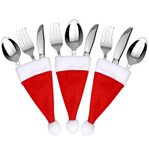 WeHome 20pc Christmas Silverware Holders Dinner Decorations,Cute Santa Hat Flatware Cutlery Knife Fork Spoon Holders Pockets Christmas Home Table Decor Party Supplies