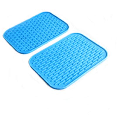 "HOMEJIA 2 PCS Silicone Trivet Mats Hot Pot Holder Draining Boards Heat Insulation Placemats Baking Gadgets Dish Drying Pads 29.5x23.8cm/11.6"" x 9.37"" (Blue)"