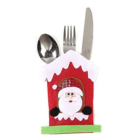 8PCS Christmas Silverware Holder Snow House Flatware Bag for Dinner Table Decoration Cutlery Knife Fork Holder Organizer for Home Entertaining