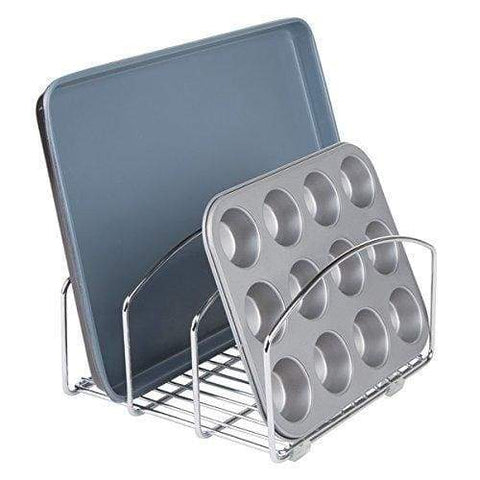 Budget decoformax metal wire cookware organizer rack for kitchen cabinet pantry and shelves organizer holder with three slots for cookie trays muffin tins bread pans cutting boards