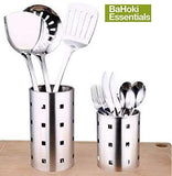"Set of 2 BaHoki Essentials Brushed Stainless Steel Utensil Crock/Holder with Drain Holes - 7"" and 6"" Caddy Set"