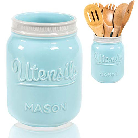 Wide Mouth Mason Utensil Holder - Large Ceramic Kitchen Utensil Holder - Rustic Farmhouse Caddy Organizer For Cooking Utensils, Spatula, Accessories - Beautiful Farm House Countertop Crock Decor