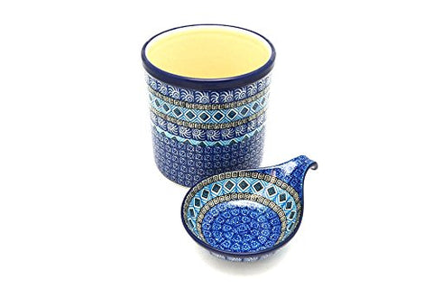 Polish Pottery Utensil Holder Set - Aztec Sky