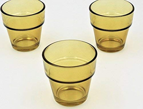 Quality Glass Flower Pot Votive Holders (Set of 12) Perfect for Weddings, Restaurants, spas, Events (Amber)