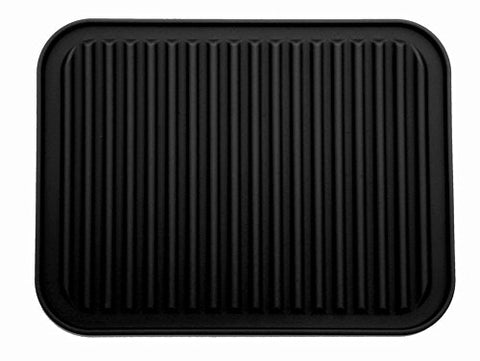 "Silicone Trivet Mat, Pot Holder - 9"" x 12"" - Black (Black)"