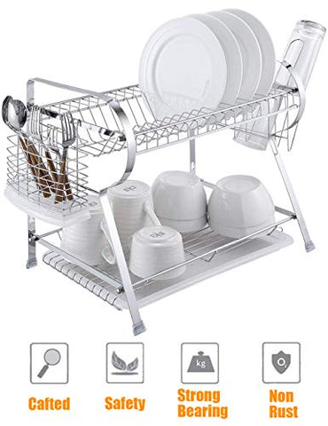 2 Tier Kitchen Dish Drying Rack Stainless Steel Rustproof Dish Utensils Drainer Dish Drying Rack Organizer with Spoon Fork Holder with White PP Plastic Drainboard R-Shape