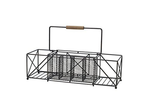 Gourmet Basics by Mikasa 5228877 Baler Expandable Picnic Plate Napkin and Flatware Storage Caddy, Large, Antique Black