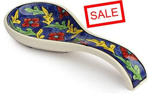 STOCK CLEARANCE SALE - ARB Exports - Ceramic Spoon Rest - Cooking Utensil Holder with Handle - Laddle Rest, Cooking Spoon Rest