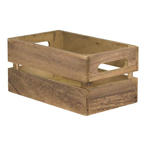 Vintage Mini Wooden Crate Table Caddy - 5.5 by 9.5-inch Storage Box Condiment Holder. Utensil Silverware Holder Organizer