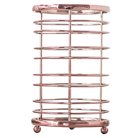 ORZ Rose Gold Kitchen Utensil Holder Flatware Organizer Caddy Storage Basket - Metal Wire