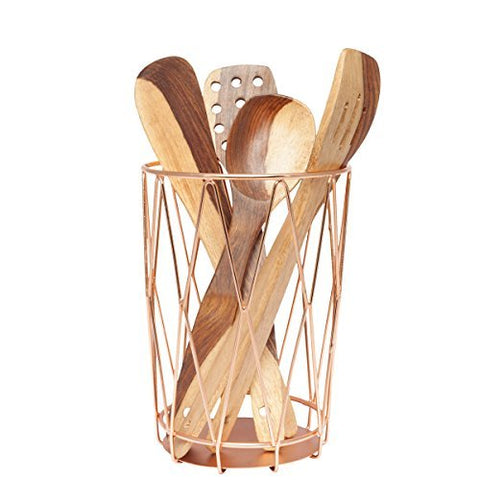 GoCraft Handmade Cutlery Holder | Organizer for your Utensils, Spatula, Spoons, Silverware - Copper Finish