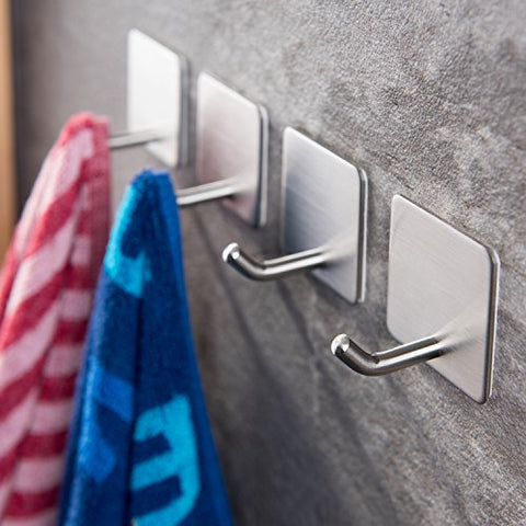 YIGII Towel Hooks/Bathroom Hook - Self Adhesive Hooks Office Hooks Hanging Keys for Kitchen Stick on Wall Stainless Steel 4 Packs