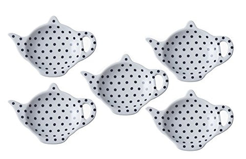 5PCS Ceramic Polka Dot Teapot-Shaped Tea Bag Holder Saucer Seasoning Dish Set
