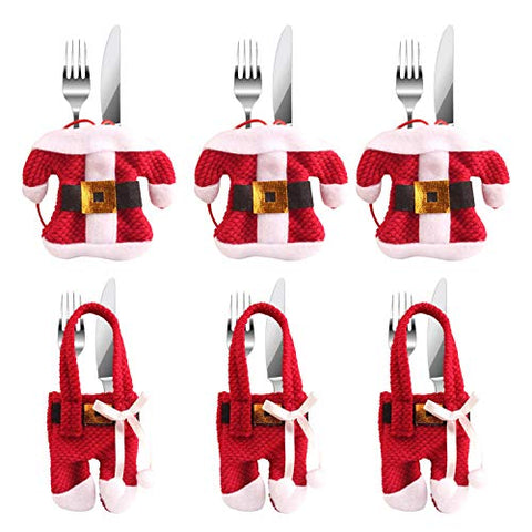 SunTrade 6 Pcs Santa Suit Christmas Snowman Silverware Holder Pockets