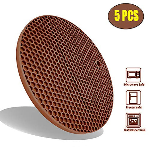 Extra Thick Silicone Trivets Pot Holder and Oven Mitts, Heat Resistant Trivets for Hot Dishes,Nonslip Insulation Honeycomb Rubber Hot Pads for Countertop,Multi-Purpose Flexible Mats,Set of 5 Coffee