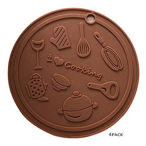 "Trivets,Silicone Trivet Mats for Hot Dishes,for Hot Pots and Pans-Hot Pads, Pot Holders, Spoon Rest, Jar Opener &Coasters,6""-Brown Chocolate-set of 4"