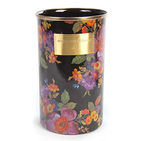 "MacKenzie-Childs Brand New Flower Market Utensil Holder - Black 100% Authentic 5"" dia., 8.5"" tall"