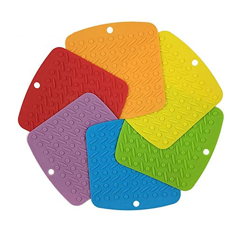 Potholder, Pot Trivet, Silicone Pot Holders, Silicone Trivets, Pot Holders Heat Resistant, Hot Pad, Hot Bowl Holder, Jar Opener, Pot Spoon Holder, Non Slip, Dishwasher Safe BPA Set of 6 (6.7 x 7 inch)