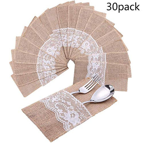 Faylapa 30 Pcs Natural Burlap Silverware Napkin Holder Tableware Utensils Knifes Forks Pouch for Rustic Wedding Party Bridal Baby Shower