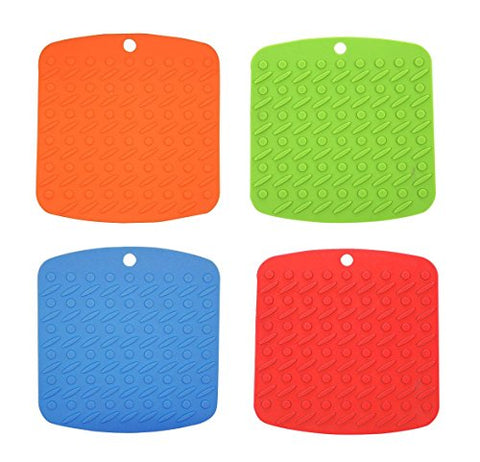 CHICHIC Heat Resistant Silicone Pot Holder, Trivet Mat, Hot Pads, Jar Opener, Spoon Rest and Garlic Peeler, Set of 4, Assorted Color