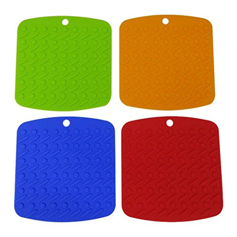 LESCA TEK Silicone Pot Holder, Trivet Mat, Jar Opener, Spoon Rest and Garlic Peeler, Non Slip, Flexible, Durable, Dishwasher Safe, Heat Resistant Hot Pads, Set of 4