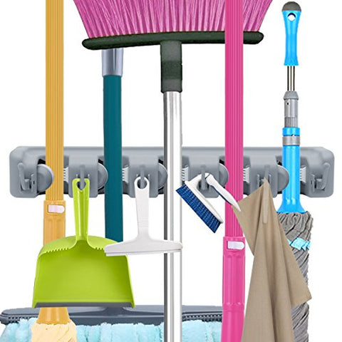 VICKMALL Mop and Broom Holder Non-Slip Automatically Lock Wall Mounted Hanger with Hooks for Closet, Rakes, Garden, Sports Equipment, Gray, S0.6x4.5